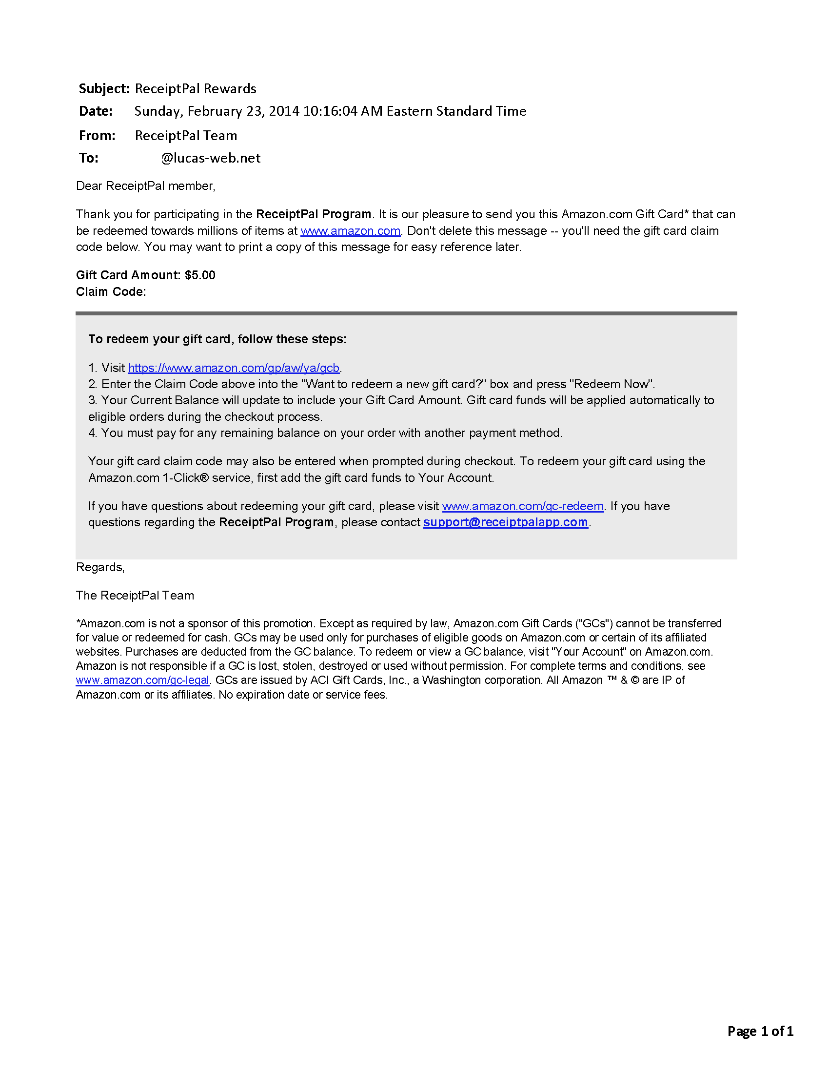 $5.00 - ReceiptPal - February 23, 2014