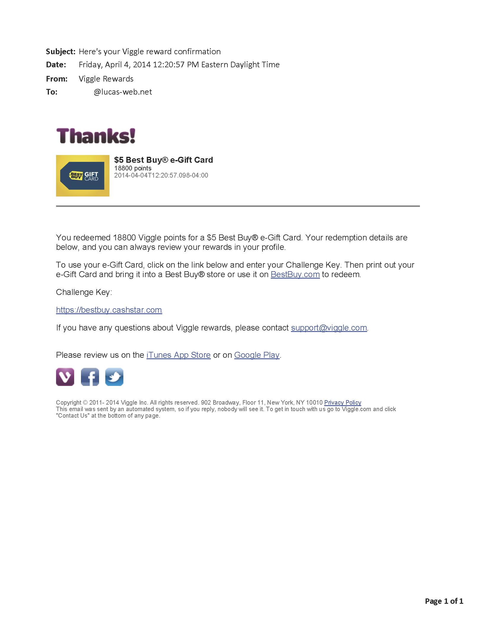 $5.00 - Viggle - April 4, 2014
