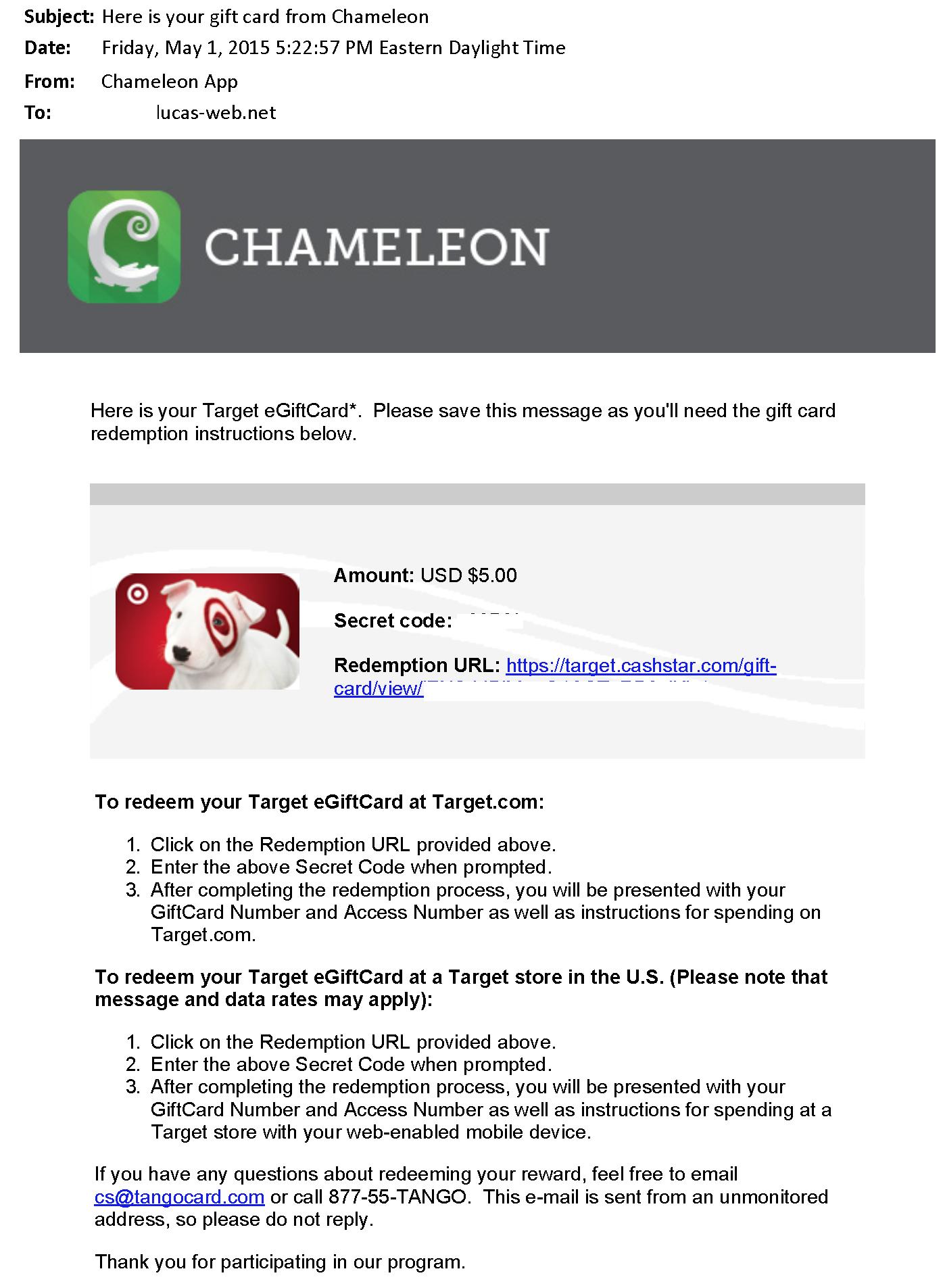 $5.00 - Chameleon - May 1, 2015