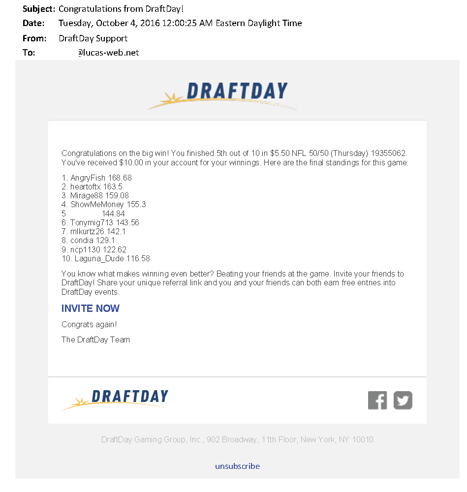 $10.00 - Draft Day - October 3, 2016